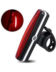 Popsky USB LED de la luz posterior de la cola de la bici recargable luz de la bicicleta - super brillante 100 lúmenes, 6 modos de luz, a prueba de agua, ahorro y FF0C, Easy Energy Para instalar para la antorcha de seguridad Ciclismo, Cascos