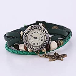 Beautiful Watches , Coway New Women's Round Dial Green Leather Band Quartz Analog Braceiet Watch