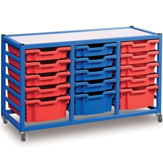 Gratnells mobile storage trolley unit with 15 plastic trays and castors by Gratnells