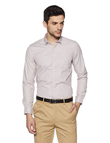 Excalibur EX Men's Solid Regular Fit Formal Shirt (276307901 Brown 39)