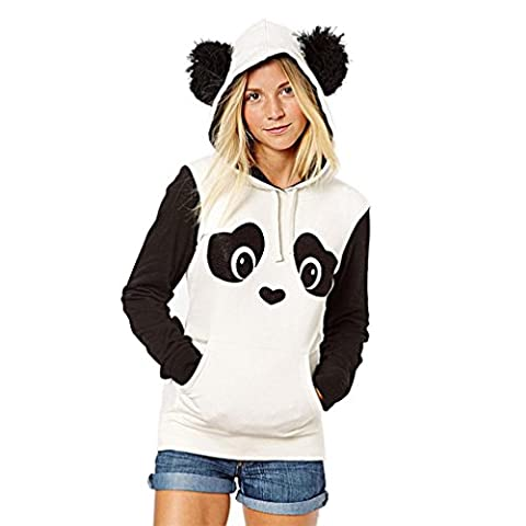Kapuzenpullover Damen,Sonnena Hoodie Sweatshirt Langarm Jacke Panda Style mit Öhrchen und Panda Gesicht Pullover Tops Blouse (Asian L, (Zurück Pullover)