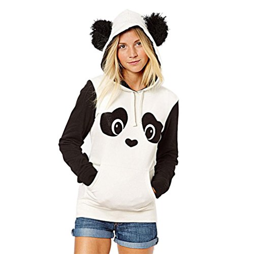 Gesichts-print-top (Kapuzenpullover Damen,Sonnena Hoodie Sweatshirt Langarm Jacke Panda Style mit Öhrchen und Panda Gesicht Pullover Tops Blouse (Asian L, Weiß))