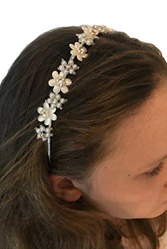 Helgas Modewelt Haarschmuck für Kinder zur Kommunion, Haarreifen zum Kommunionkleid, ivory