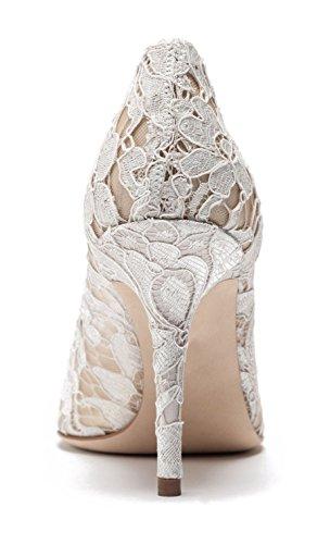 uBeauty - Tacchi alti sexy del merletto - Magnifico Scarpe col Tacco - Tacchi di nozze - Scarpe da sposa Bianco