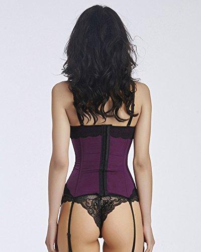 HLGO Bowknot Plus Size Basque and Suspenders Corset Satin Lace Mesh con G-String Negro o Púrpura o Azul, 5 tamaños para la elección, morado, Medium