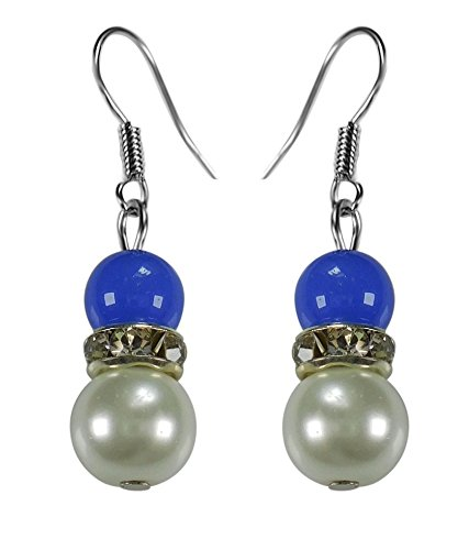 CRYSTAL & BEADS Sapphire Blue Colour Round Moonball & White Colour Pearl with Diamond Spacer Earring