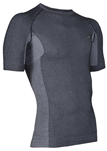 Sport Funktionsshirt Funktionswäsche SIMLOC Orange_Line Shirt (XXL, Anthrazit) (Line Kleidung Ski)