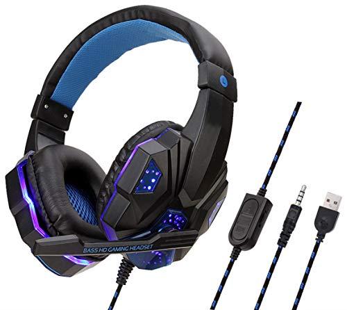 TKLLOVE Noise Cancelling-Kopfhörer, Spieldauer Aktive Lautstärkeregelung mit Mikrofon Hochklarer Sound Leistungsstarke 3,5-mm-Stecker 1 USB für Desktop-Computer-Weiß Blau Upgrade - Desktop-computer-upgrades