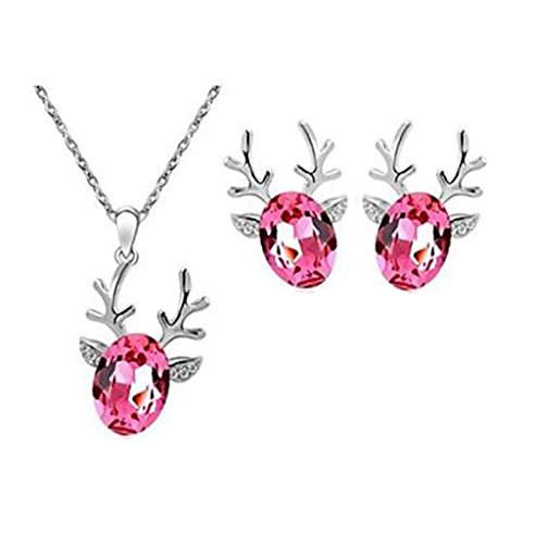 GYJUN Schmuck-Set klassisch eleganten Crystal Rentiere Anhänger Halskette Ohrringe Freundin Geschenk , rose (Crystal Rentier)