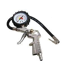 Idea Regalo - Lecimo Gonfiatore Per Pneumatici 220 PSI, Quadrante Della Pressione Dell'aria Con Tubo Flessibile Con Mandrino A Pistola Per Moto Auto