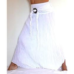 Falda Larga Blanca Blanco étnica Mujer Talla única Hippie Long Skirt White