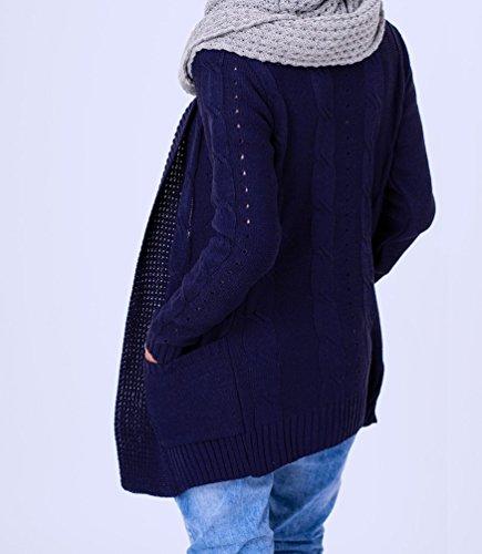 Zeta Ville - Cardigan maille blazer poches devant manches longues - femme - 970z Marine