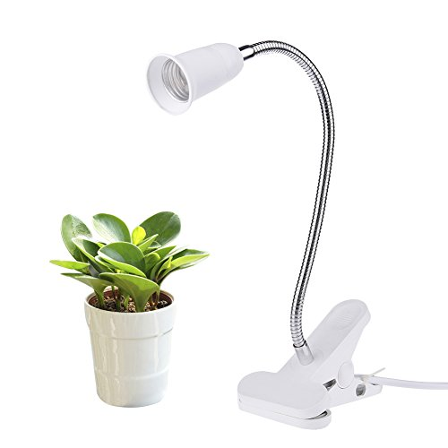 Schreibtisch-lampe 2 Röhren (Yunt E27 LED Pflanzenlampe Halter Klammer Pflanzenleuchte mit 360° einstellbar Gooseneck Grow Licht Wachsen Lichter Klemmleuchten für Büro Haus Garten Pflanzen Blumen Veg, ohne Glühbirne)