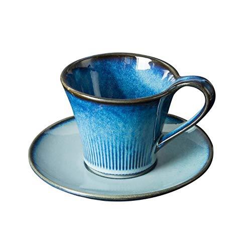 Dunkelblaue europäische Kaffeetasse Cappuccino Tasse und Untertasse Set Becher