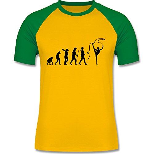 Evolution - Rhythmische Sportgymnastik Evolution - zweifarbiges Baseballshirt für Männer Gelb/Grün