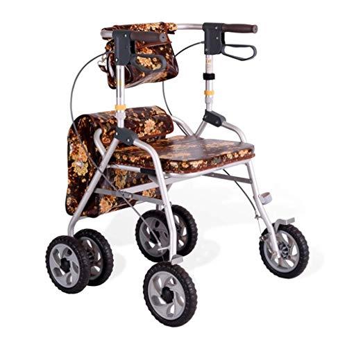 DHINGM Altertümlich Trolley Aluminium Walker, Leichtklapp Vier-Rollstuhl, Großer Sitz, mit stark ist, weich, robust Sicherheitsgurt und Rückenlehne aus stabilem und leichtem Aluminium Durable