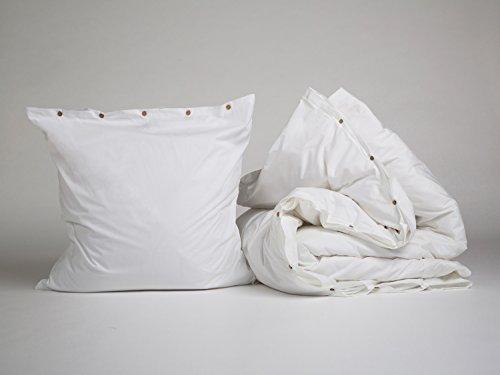 Yumeko Bettwäsche - Bettwäscheset - Perkal Baumwolle - 135x220 cm - Kissenbezug 80x80 cm - Pure White - Weiß - fest, glatt & knisternd - 100% biologische Baumwolle - ökologisch - atmungsaktiv - Hotelqualität