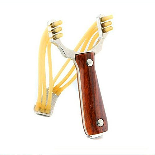 HONGCI Red Wood Alloy Outdoor-Jagd-Katapult-Spielzeug (im Lieferumfang enthalten: Red Wood Alloy Jagd-Schleuder + Gummibänder)