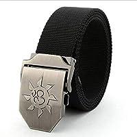 LLZGPZPD Cinturón De Lona Cinturón para Hombre De Metal Hebilla Militar Nylon Lona Cinturón Hombres Punk De Lujo Cinturones Tácticos para Hombre Cinturón Masculino De Mejor Calidad, Negro, 120 Cm