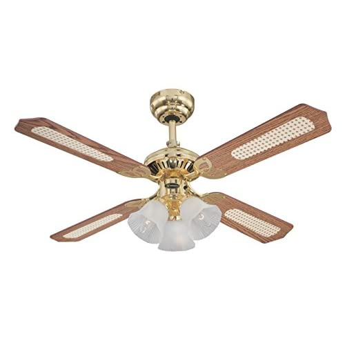 41wDRfLpLvL. SS500  - Westinghouse Ceiling Fans 78199 Princess Trio 105 cm Polished Brass Indoor Ceiling Fan, Light Kit with Frosted Glass, Oak/Rattan
