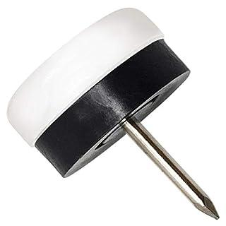 32 x Kunststoffgleiter mit Puffer und Nagel | Ø 20 mm | Weiß | rund | Möbelgleiter mit Dämpfer und Stift in Premium-Qualität von Adsamm®