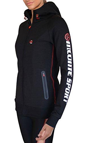M.Conte Damen Gym Tech Hoodie Zip Jacke Kapuzenpulli elastischen Zugband atmungsaktiv Jersey Rote Kontrast Nähte Seitliche Reißverschlusstaschen gummierten Prints Sweat-Shirt,S M L XL Rechel Schwarz S (Jersey Hoodie-jacke)
