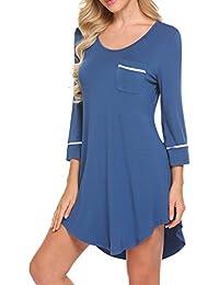 d90c22fc53 UNibelle Women s Sleepshirt 3 4 Sleeves Nightgown Sexy Nightshirts  Boyfriend Sleepwear S-XXL