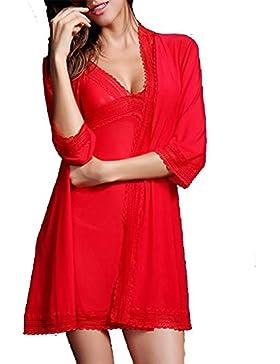 YUYU Moda donna scollo a v pizzo tagliato Strap camicia da notte (nero/rosso) , xl , red
