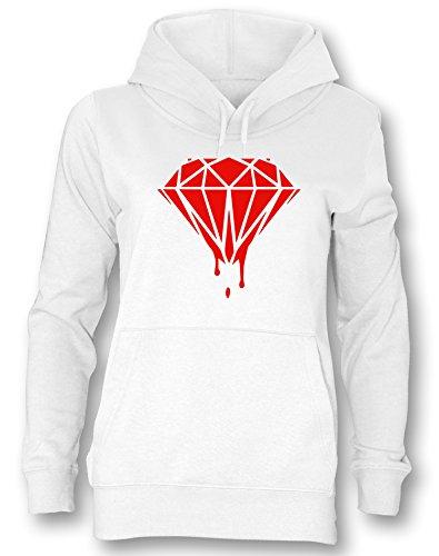 Blood Diamond - Damen Hoodie Weiß - Rot in Größe (Owl Hoodie)