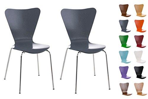Clp set 2 sedie impilabili calisto con seduta in legno e telaio in metallo | sedia conferenza salvaspazio, facile da pulire | sedia classica riunioni | altezza seduta 45 cm | sedia attesa per fiere |sedia visitatore robusta grigio