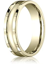 18ct Yellow Gold, 6mm Comfort-Fit High Polished Squared Band (sz H to Z5)