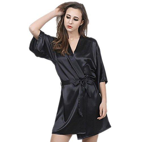 CHUNHUA imitazione manica di seta camicia da notte di seta nobile pigiama tuta , pink , l Black