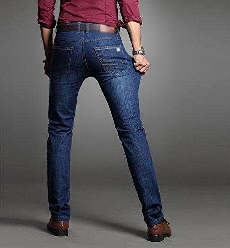 CHENGYANG Uomo Casual Sezione Sottile Straight Fit Elasticizzato Jean Denim Pantaloni Scuro Blu