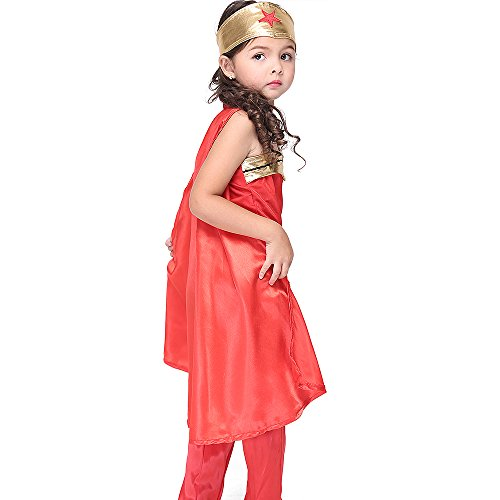 QJXF Little Girls Halloween Kostüm Kleid Set, Halloween Cosplay Kostüm Superman Kostüm Wonder Woman Party Kleider Geschenke Für Kinder,XL(125Cmto135cm)