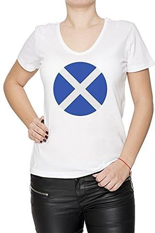 Écosse nationale Drapeau Femme T-Shirt V-Col Blanc Coton Manches Courtes Women's T-Shirt V-Neck White