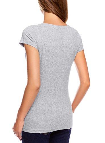oodji Ultra Donna T-Shirt Basic in Cotone Grigio (2000M)