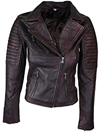 9f9a92e110e Aviatrix Ladies Women Genuine Leather Slim Fit Maroon Burgundy Biker Jacket