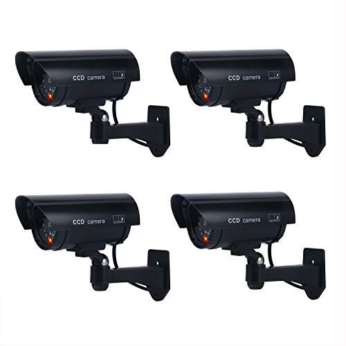 4 Stücke Kamera Attrappe Dummy IR LED - Unechte Überwachungskamera CCTV Aussenbereich Kameraatrappe Innen Außen Fake Überwachung falsch künstlich Sicherheitskamera