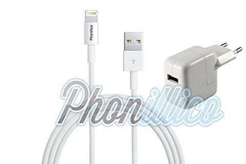 Phonillico® Cable USB + Chargeur Secteur Blanc pour Apple iPad Air 2 - Cable Chargeur Universel Port Micro USB Data Chargeur Synchronisation Transfert Donnees Mesure 1 Metre Chargeur Secteur Prise Murale