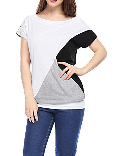 Allegra K Femme Bateau Manches Courtes Col Bloc De Couleur T-shirts white