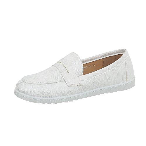 Ital-Design Mokassins Damen-Schuhe Flach Moderne Halbschuhe Weiß, Gr 39, Bh1240-Bl-