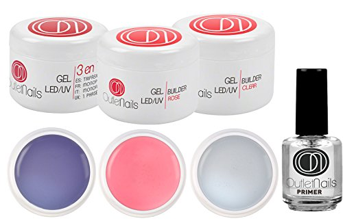 Kit UV Gel 3 Geles 15ml + Primer 15ml uñas gel