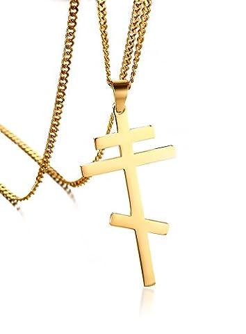 Vnox Men's Women's Stainless Steel Russian Orthodox Cross Pendant Necklace Byzantine Empire Gold,Free Cuban