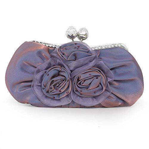 ZTDXCL Damen Clutch Handtasche Blume Dinner-Tasche Party Bankett Braut Kleid Tanzparty Abendtasche/Lavendel -