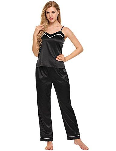 ADOME Damen Schlafanzug Hausanzug Satin Verstellbarer Träger Ärmellos V-Ausschnitt Tops mit elastischen Taille Hosen Pyjamas Sets Schwarz (Ärmelloses Damen-pyjama)