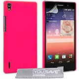 Yousave Accessories Coque Huawei Ascend P7 Etui Rose Chaud Dur Hybride Housse