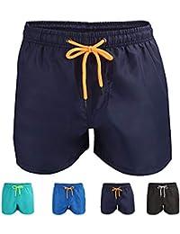 Kungber Homme Shorts de Bain Plage Natation Short Court de Sport Beach Séchage Rapide avec Doublure en Maille et Sacs Bleu Noir Gris, Taille M/L/XL