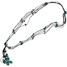 Chic-Net lascas cadena turquesa de algodón collar de perlas de varias capas de algodón encerado de 39 cm