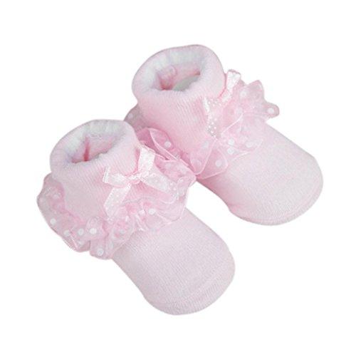 Baby Socken, FNKDOR Neugeborene Mädchen Baumwolle Söckchen Bowknots (0-6 Monate, Rosa)