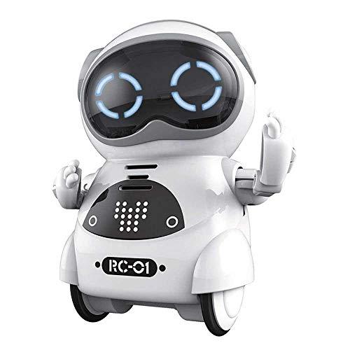 AOLVO Mini-Roboter, Lern-Roboter für Kinder, Sprachaufnahme, interaktive Gespräche, Spracherkennung, Gesang und Tanz, süßes Spielzeug für Jungen und Mädchen weiß